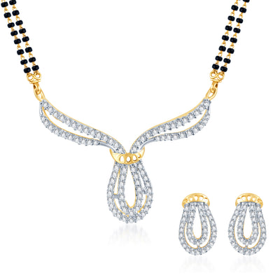 Pissara Traditionally Crafted CZ Gold and Rhodium Plated Mangalsutra Set