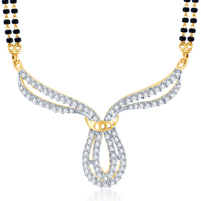Pissara Traditionally Crafted CZ Gold and Rhodium Plated Mangalsutra Set-1