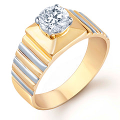 Pissara Gold and Rhodium Plated Solitaire CZ Ring for Men(128GRK650)