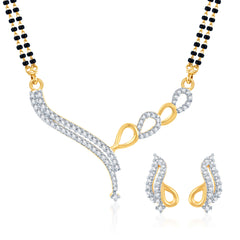 Pissara Appealing CZ Gold and Rhodium Plated Mangalsutra Set