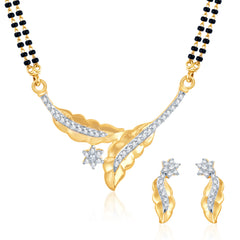 Pissara Dazzling CZ Gold and Rhodium Plated Mangalsutra Set