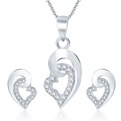 Pissara Excellent Rhodium plated CZ Pendant Set