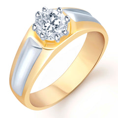Pissara Gold and Rhodium Plated Solitaire CZ Ring for Men(133GRK590)