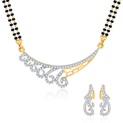 Pissara Marvellous Gold Plated CZ Set of 3 Mangalsutra Set Combo For Women-2
