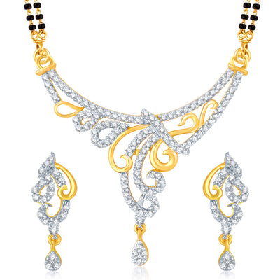 Pissara Bewitching Gold and Rhodium Plated Cubic Zirconia Stone Studded Mangalsutra Set