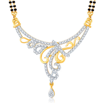 Pissara Bewitching Gold and Rhodium Plated Cubic Zirconia Stone Studded Mangalsutra Set-1