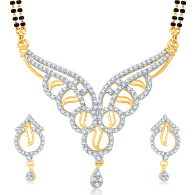Pissara Enchanting Gold and Rhodium Plated Cubic Zirconia Stone Studded Mangalsutra Set