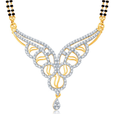 Pissara Enchanting Gold and Rhodium Plated Cubic Zirconia Stone Studded Mangalsutra Set-1