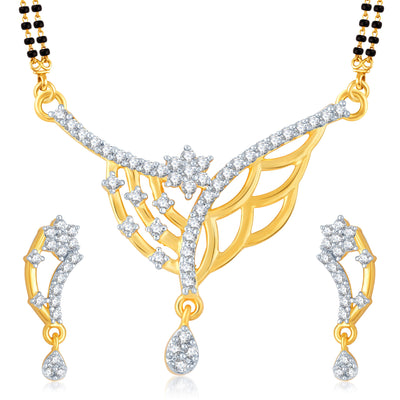 Pissara Pretty Gold and Rhodium Plated Cubic Zirconia Stone Studded Mangalsutra Set