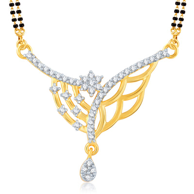 Pissara Pretty Gold and Rhodium Plated Cubic Zirconia Stone Studded Mangalsutra Set-1