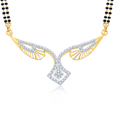 Pissara Exquitely Gold and Rhodium Plated Cubic Zirconia Stone Studded Mangalsutra Set-1