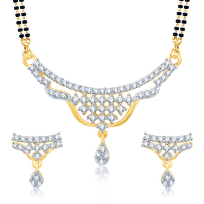 Pissara Gracefull Gold and Rhodium Plated Cubic Zirconia Stone Studded Mangalsutra Set