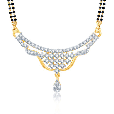 Pissara Gracefull Gold and Rhodium Plated Cubic Zirconia Stone Studded Mangalsutra Set-1