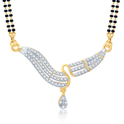 Pissara Sleek Gold and Rhodium Plated Cubic Zirconia Stone Studded Mangalsutra Set-1