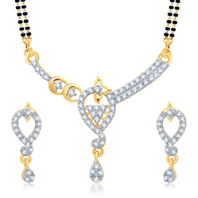 Pissara Glorius Gold and Rhodium Plated Cubic Zirconia Stone Studded Mangalsutra Set