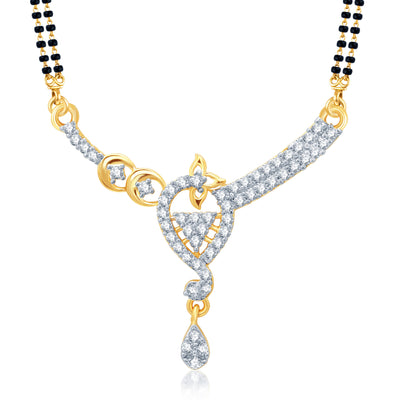Pissara Glorius Gold and Rhodium Plated Cubic Zirconia Stone Studded Mangalsutra Set-1