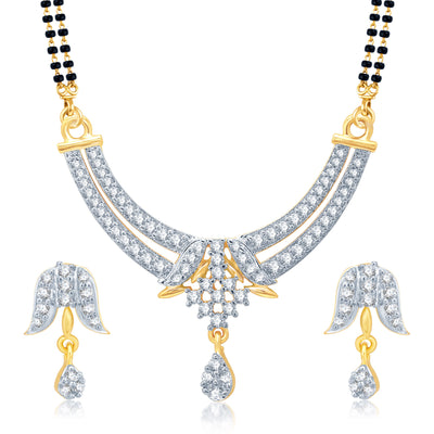 Pissara Luxurious Gold and Rhodium Plated Cubic Zirconia Stone Studded Mangalsutra Set