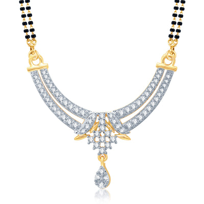 Pissara Luxurious Gold and Rhodium Plated Cubic Zirconia Stone Studded Mangalsutra Set-1
