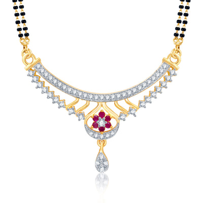 Pissara Resplendent Gold and Rhodium Plated Cubic Zirconia Stone Studded Mangalsutra Set-1