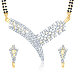 Pissara Artistically Gold and Rhodium Plated Cubic Zirconia Stone Studded Mangalsutra Set