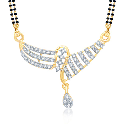 Pissara Fascinating Gold and Rhodium Plated Cubic Zirconia Stone Studded Mangalsutra Set-1