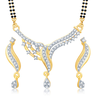 Pissara Dazzling Gold and Rhodium Plated Cubic Zirconia Stone Studded Mangalsutra Set