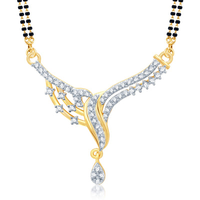 Pissara Dazzling Gold and Rhodium Plated Cubic Zirconia Stone Studded Mangalsutra Set-1