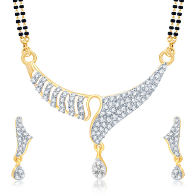 Pissara Amazing Gold and Rhodium Plated Cubic Zirconia Stone Studded Mangalsutra Set