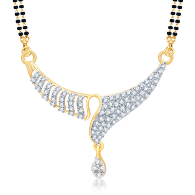 Pissara Amazing Gold and Rhodium Plated Cubic Zirconia Stone Studded Mangalsutra Set-1