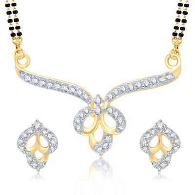 Pissara Wavy Gold and Rhodium Plated Cubic Zirconia Stone Studded Mangalsutra Set