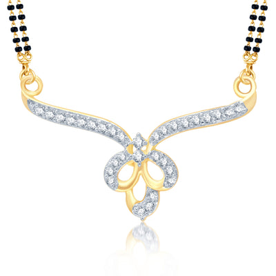 Pissara Wavy Gold and Rhodium Plated Cubic Zirconia Stone Studded Mangalsutra Set-1
