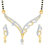 0073 Sukkhi Surveen Chawla Collections Traditionally Gold and Rhodium Plated CZ Mangalsutra Set