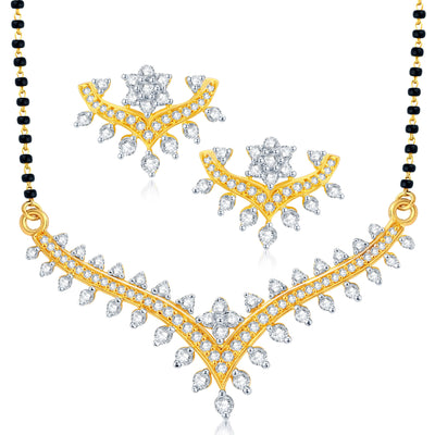 Pissara Classy Gold Plated CZ Set of 3 Mangalsutra Set Combo For Women-2