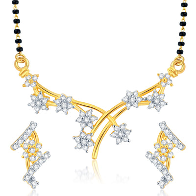 Pissara Graceful Gold Plated CZ Set of 3 Mangalsutra Set Combo For Women-1