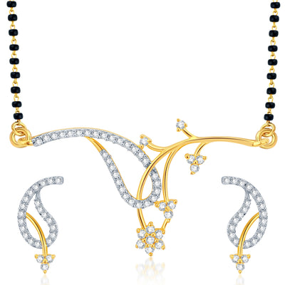 Pissara Exotic Gold Plated CZ Set of 3 Mangalsutra Set Combo For Women-3