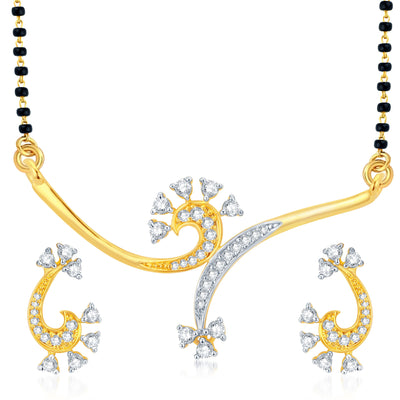 Pissara Graceful Gold Plated CZ Set of 3 Mangalsutra Set Combo For Women-2