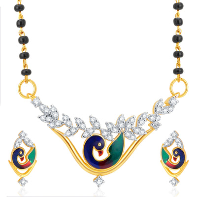 Pissara Traditionally Peacock Gold Plated CZ Set of 2 Mangalsutra Set Combo For Women-1