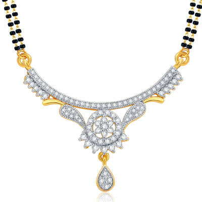 Pissara Glamorous Gold and Rhodium Plated CZ Mangalsutra Set For Women-1