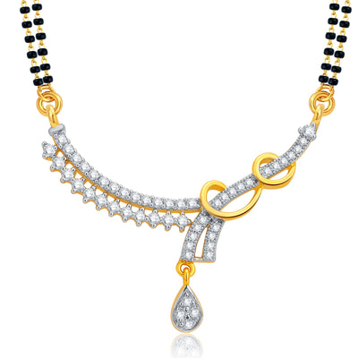 Pissara Sparkling Gold and Rhodium Plated CZ Mangalsutra Set For Women-1