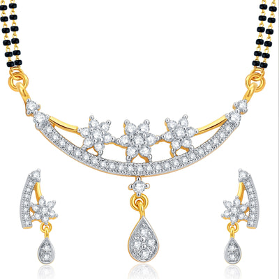 Pissara Ethnic Gold and Rhodium Plated CZ Mangalsutra Set For Women