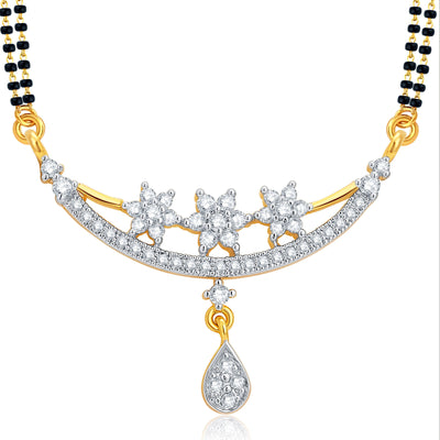 Pissara Ethnic Gold and Rhodium Plated CZ Mangalsutra Set For Women-1