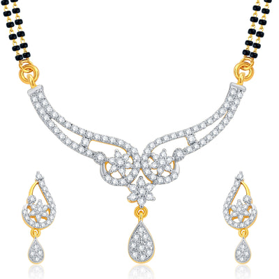 Pissara Glorious Gold and Rhodium Plated CZ Mangalsutra Set For Women