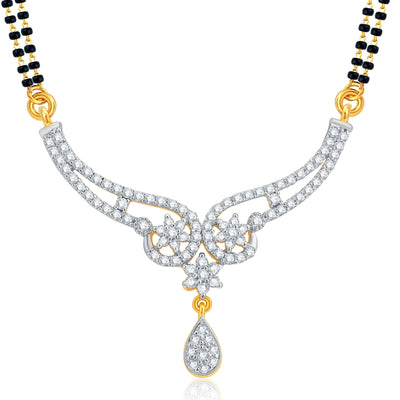 Pissara Glorious Gold and Rhodium Plated CZ Mangalsutra Set For Women-1