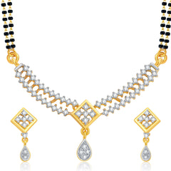 Pissara Shimmering Gold and Rhodium Plated CZ Mangalsutra Set For Women