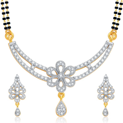 Pissara Fashionable Gold and Rhodium Plated CZ Mangalsutra Set For Women