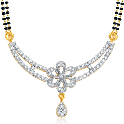 Pissara Fashionable Gold and Rhodium Plated CZ Mangalsutra Set For Women-1