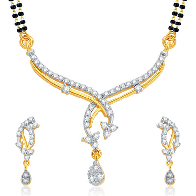 Pissara Gleaming Gold and Rhodium Plated CZ Mangalsutra Set For Women