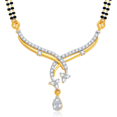 Pissara Gleaming Gold and Rhodium Plated CZ Mangalsutra Set For Women-1