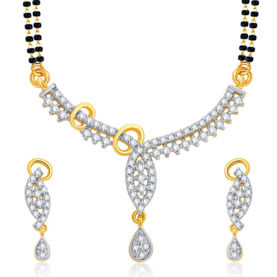 Pissara Pretty Gold and Rhodium Plated CZ Mangalsutra Set For Women