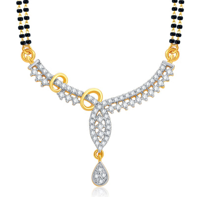 Pissara Pretty Gold and Rhodium Plated CZ Mangalsutra Set For Women-1
